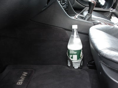 Holding a one-liter bottle - Ultimate Cup Holder for BMW, Porsche, and other fine cars